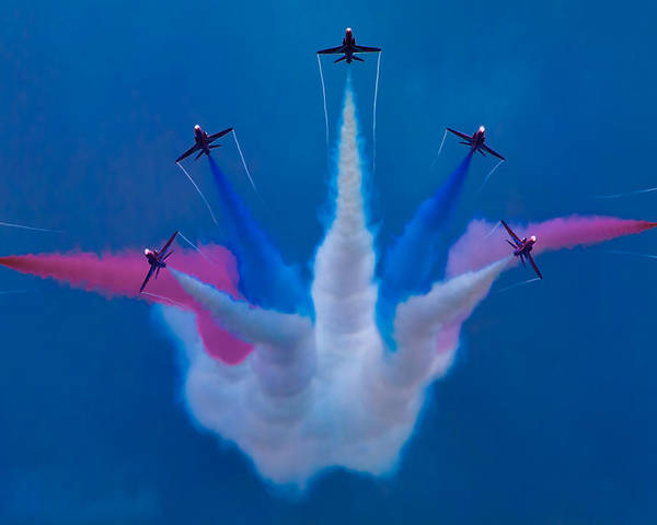 Flight Poster featuring the photograph Red Arrows At Airbourne 2010 by Chris Lord