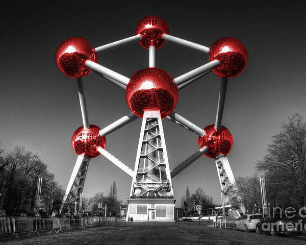 Atomium Poster featuring the photograph Red Atomium by Rob Hawkins
