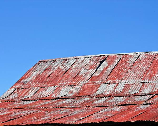 Barn Poster featuring the photograph Red Barn And Blue Sky- Fine Art by KayeCee Spain