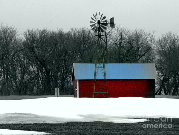 Red Barn Poster featuring the photograph Red Barn And Windmill by Julie Lueders