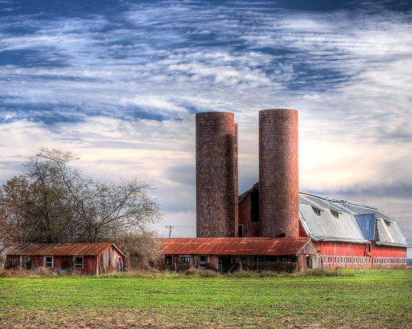 Landscape Poster featuring the photograph Red Barn II by Michael Taylor