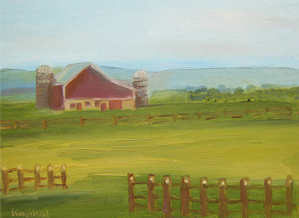 Konkol Poster featuring the painting Red Barn by Lisa Konkol