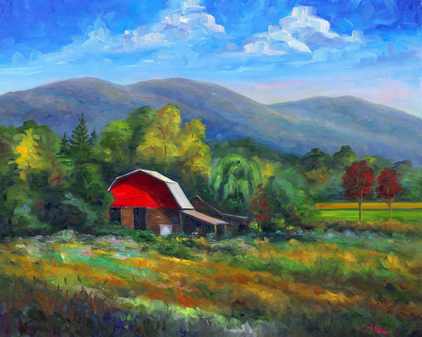 Red Barn Poster featuring the painting Red Barn On Cane Creek by Jeff Pittman
