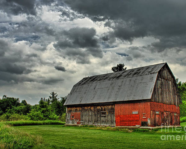 Red Poster featuring the photograph Red Barn by Tim Wilson