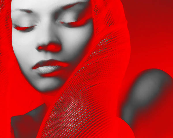 American Poster featuring the digital art Red Beauty by Naxart Studio