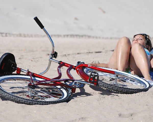 Red Poster featuring the photograph Red Bike On The Beach by Rob Hans