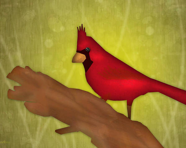 Cardinal Poster featuring the digital art Red Bird by Melisa Meyers