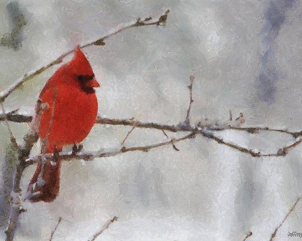 Bird Poster featuring the painting Red Bird Of Winter by Jeff Kolker