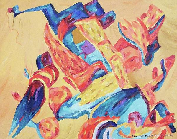 Abstract Poster featuring the painting Red Blue Gold by Suzanne Marie Leclair