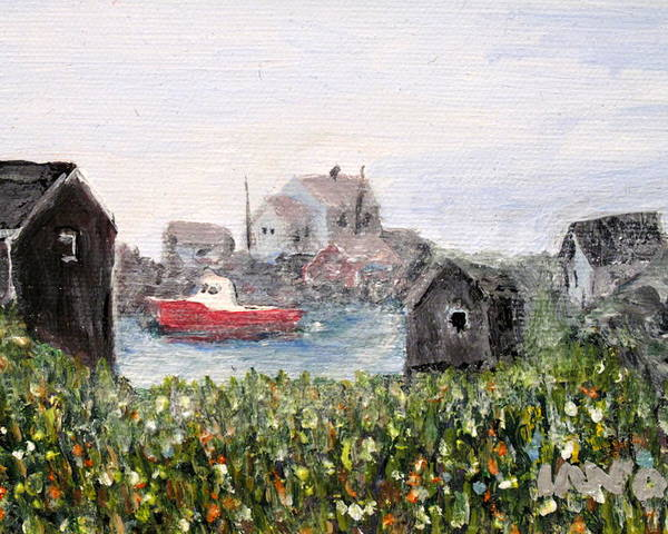 Red Boat Poster featuring the painting Red Boat In Peggys Cove Nova Scotia by Ian MacDonald