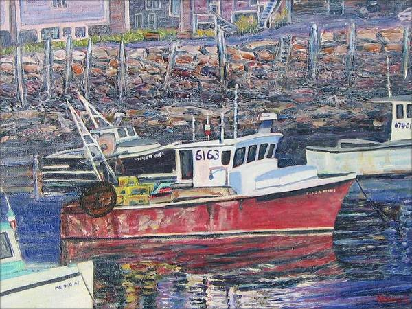 Boat Poster featuring the painting Red Boat Reflections by Richard Nowak