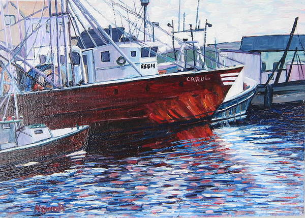 Boats Poster featuring the painting Red Boats by Richard Nowak