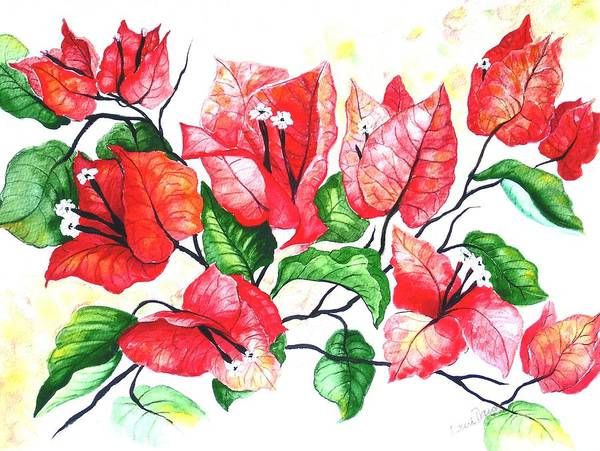 Red Flower Poster featuring the painting Red Bouganvillia by Karin Dawn Kelshall- Best
