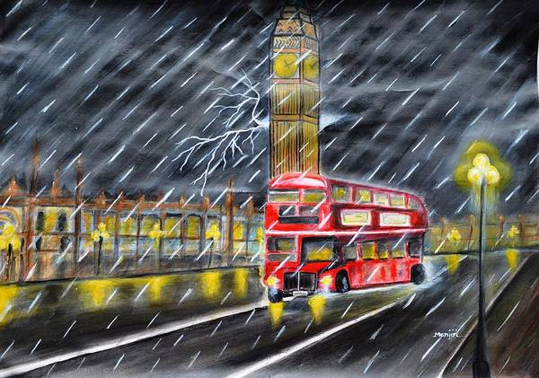 London Poster featuring the painting Red bus in London Night Rain by Manjiri Kanvinde