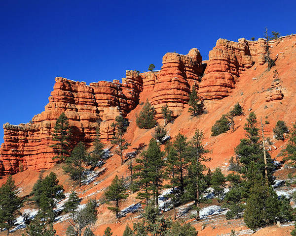 Red Poster featuring the photograph Red Canyon Hoodoos by Pierre Leclerc Photography
