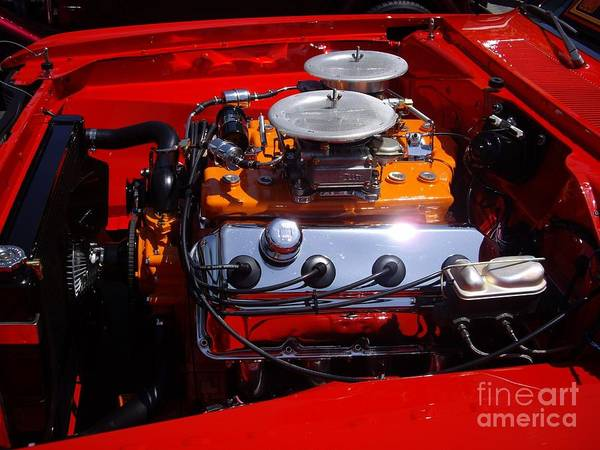 Red Car Engine Poster featuring the photograph Red Car Engine by Mariola Bitner
