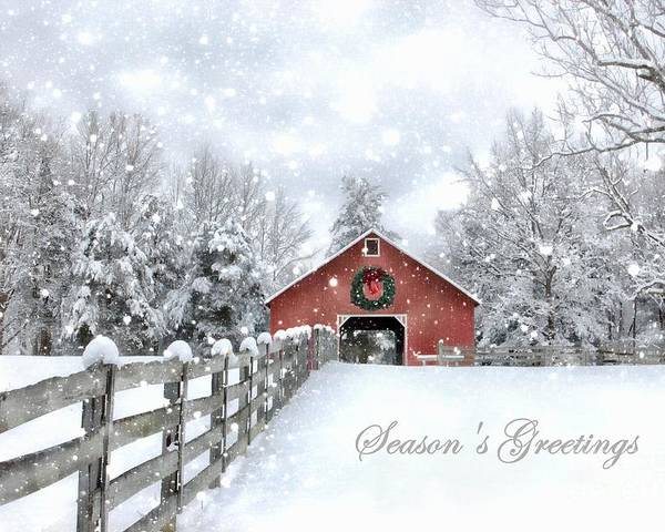 Red Christmas Barn Poster by Benanne Stiens