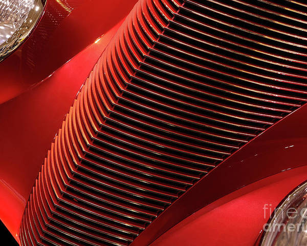 Car Poster featuring the photograph Red Classic Car Details by Oleksiy Maksymenko