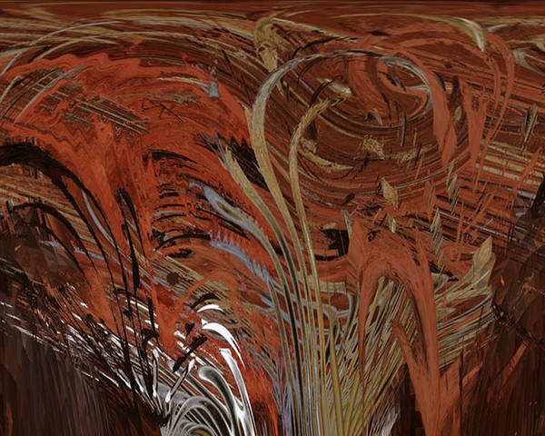 Red Poster featuring the digital art Red Clay Swirl 2 by Beverly Kimble Davis