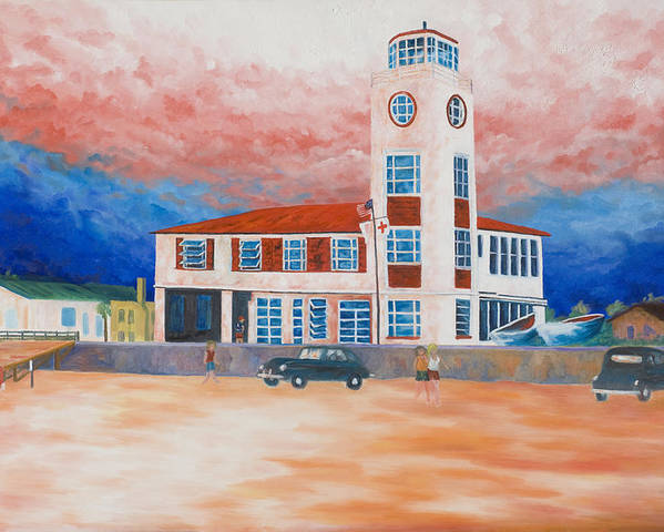 Historic Buildings Poster featuring the painting Red Cross Lifeguard Station by Blaine Filthaut