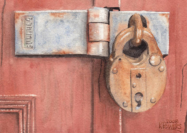 Lock Poster featuring the painting Red Door And Old Lock by Ken Powers