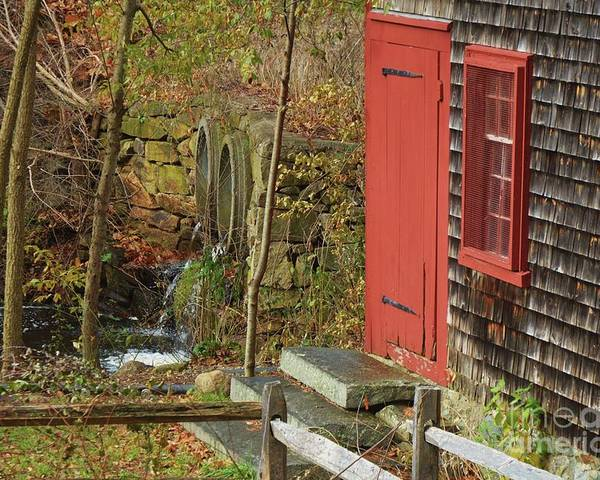 New England Vision Kingsbury Grist Mill Red Door Outdoors Fall Rural Medfield Window Stone Steps Historic Building Shingles Greenery Water Falling Serene Old Fence Canvas Print Wood Print Meta Frame Poster Print Available On Shower Curtains Tote Bags T Shirts Mugs Pouches Throw Pillows And Phone Cases Poster featuring the photograph Red Door At The Grist Mill In Fall 2017 by Marcus Dagan