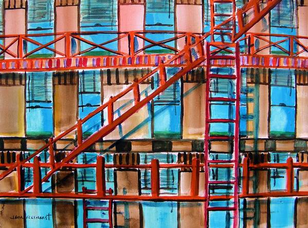 City Poster featuring the painting Red Fire Escape by John Williams