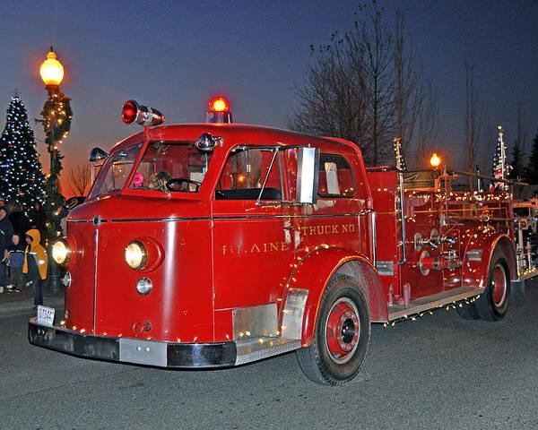 Digital Photograph Poster featuring the photograph Red Firetruck by Matthew Adair