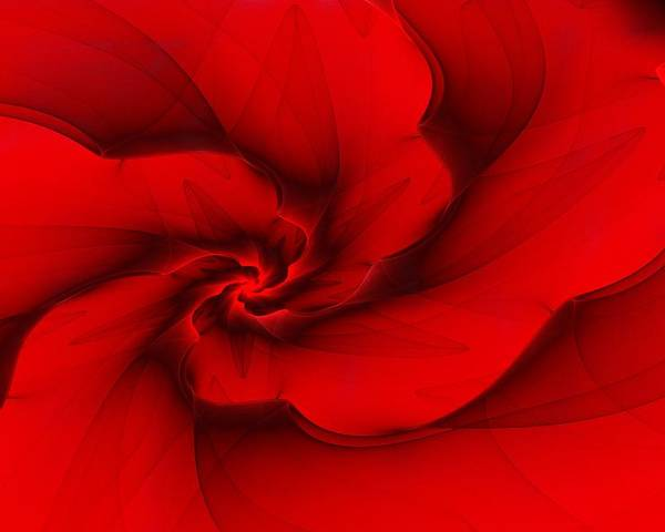 Fractal Poster featuring the digital art Red Fractal 080910 by David Lane