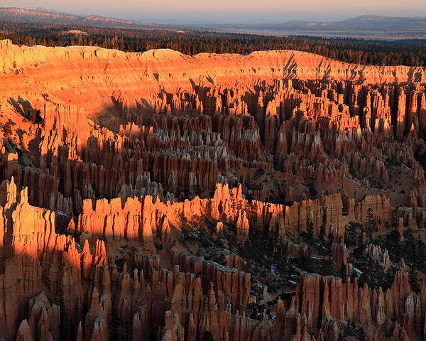 Bryce Poster featuring the photograph Red Glow Of The Sunrise In Bryce Canyon by Pierre Leclerc Photography