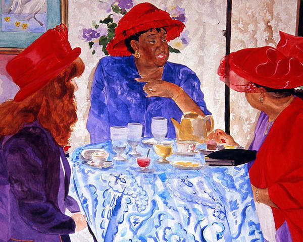 Red Hat Poster featuring the painting Red Hatters Chatter by Jean Blackmer