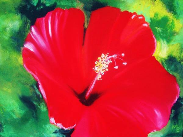 Bright Flower Poster featuring the painting Red Hibiscus by Melinda Etzold