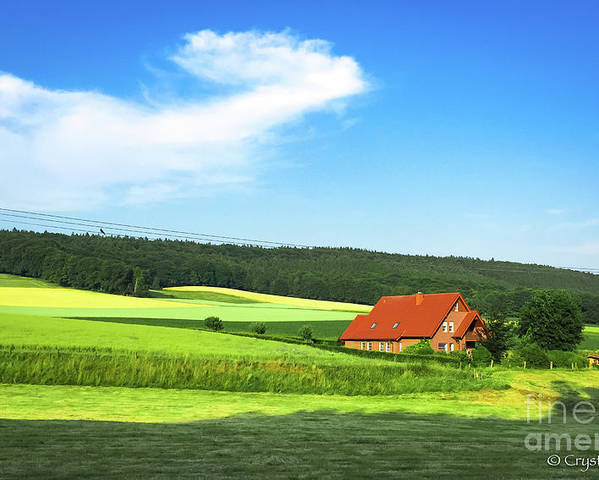 Red House Poster featuring the photograph Red House In Field - Amshausen, Germany by Crystal Alatorre