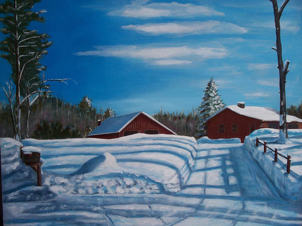 Poster featuring the painting Red House In Winter by Ron Hamilton