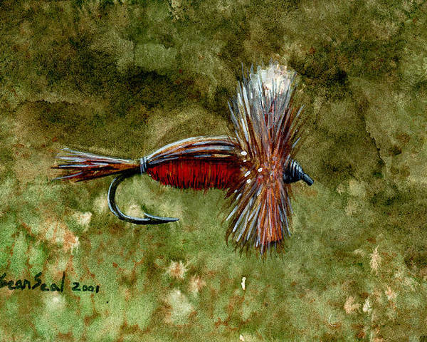 Fishing Fly Poster featuring the painting Red Humpy by Sean Seal