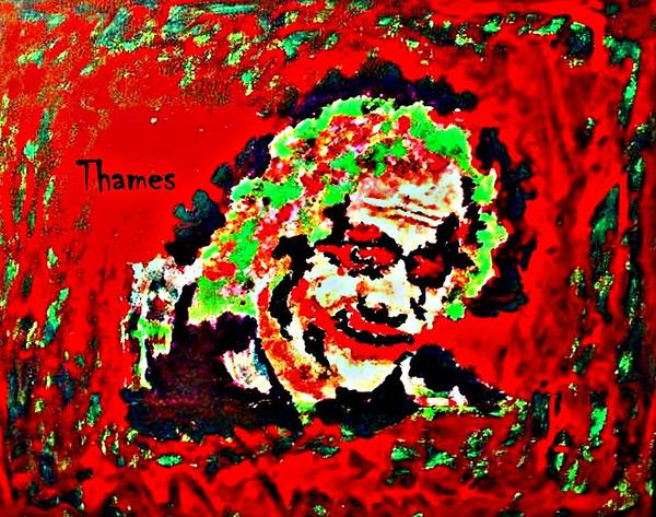 Acrylic Poster featuring the painting Red Joker by Christopher Thames