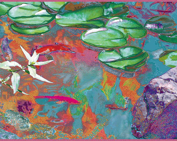 Koi Poster featuring the photograph Red Koi In Green Disguise by Judy Loper