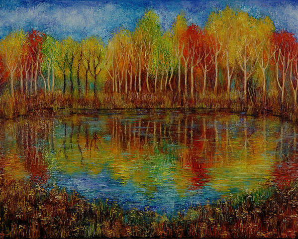 Landscape Poster featuring the painting Red Lake. by Evgenia Davidov