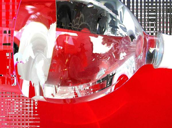 Red Poster featuring the photograph Red Lantern And Soda Water 8 by Evguenia Men