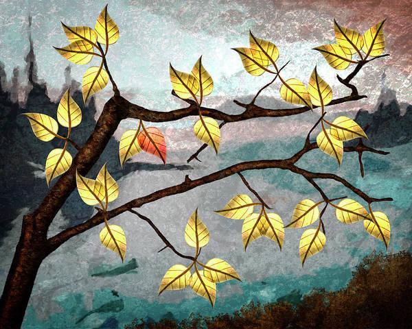 Digital Art Poster featuring the digital art Red Leaf by Ken Taylor