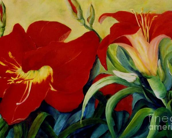 Flowers Red Lilies In Garden Poster featuring the painting Red Lily by Marta Styk
