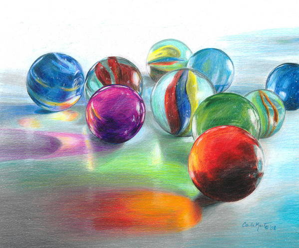 Marbles Poster featuring the drawing Red Marble Reflections by Carla Kurt
