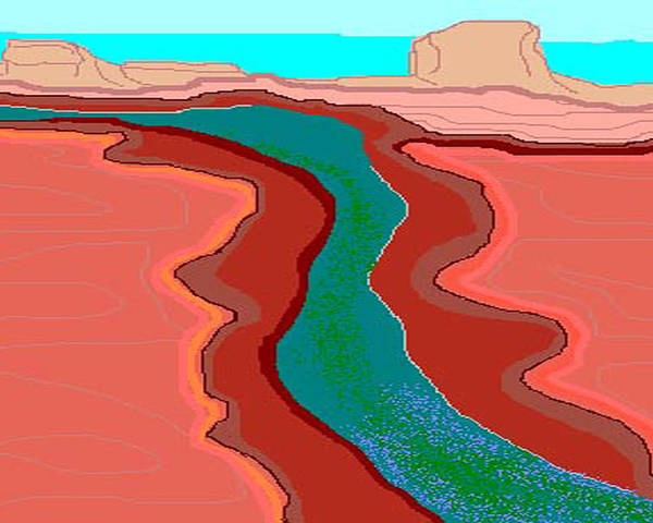 Landscape Poster featuring the digital art Red Mesa by Carole Boyd