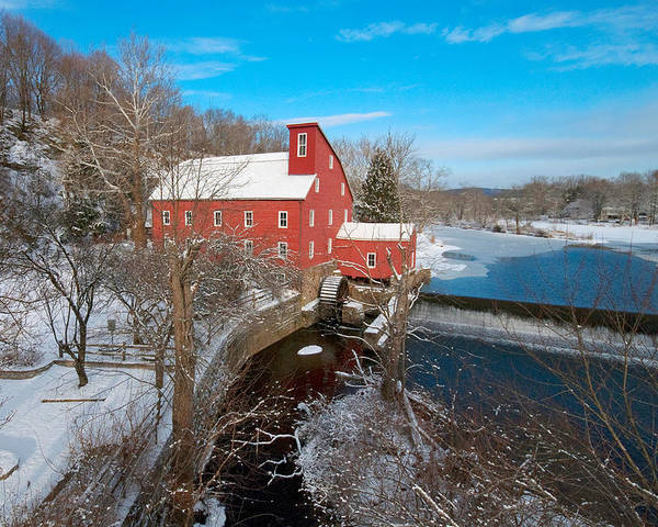 Aerial Poster featuring the photograph Red Mill In Winter by John Majoris