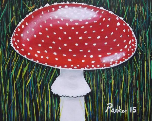 Mushroom Poster featuring the painting Red Mushroom by Don Parker