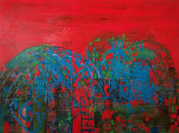Landscape Poster featuring the print Red Nights by Meltem Quinlan