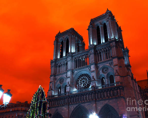Red Notre Dame Pop Art Poster featuring the photograph Red Notre Dame Pop Art by John Rizzuto