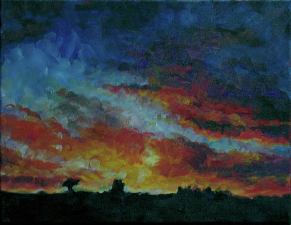 Skyscape Poster featuring the painting Red Orange Evening by Susan Moore