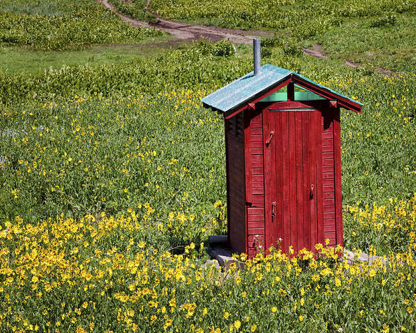 Bathroom Poster featuring the photograph Red Outhouse 3 by Maria Struss