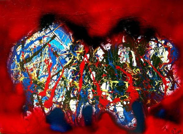 Abstract Poster featuring the painting Red Rock 2 by Paul Freidin